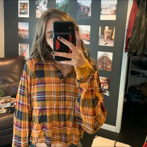 Urban outfitters cropped flannel